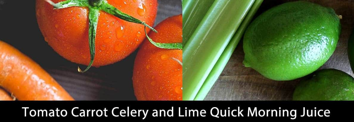 Tomato Carrot Celery and Lime Quick Morning Juice