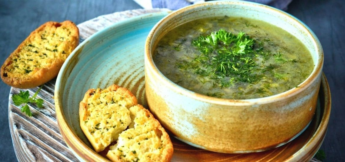 garlic bread with soup